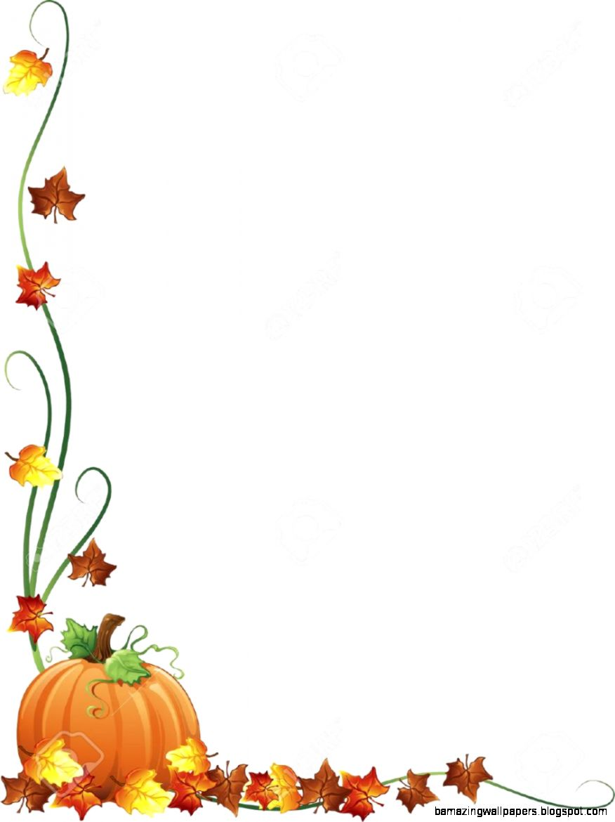 Illustration Of Fall Leaves And A Pumpkin As A Border Design Stock