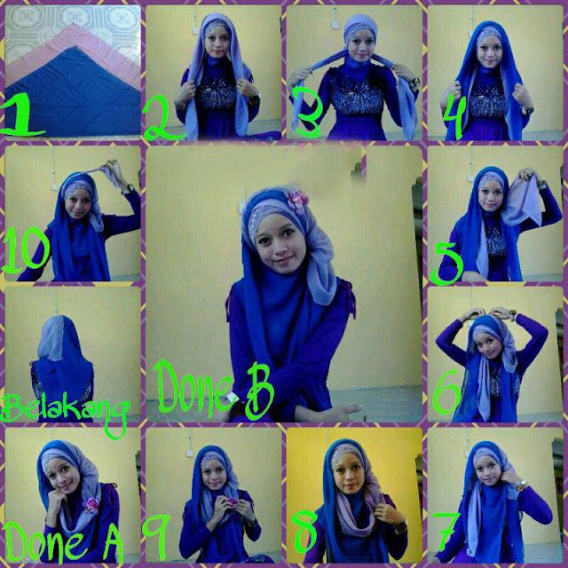 cara memakai 2 jilbab