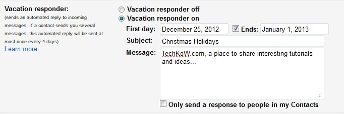 Vacation responder