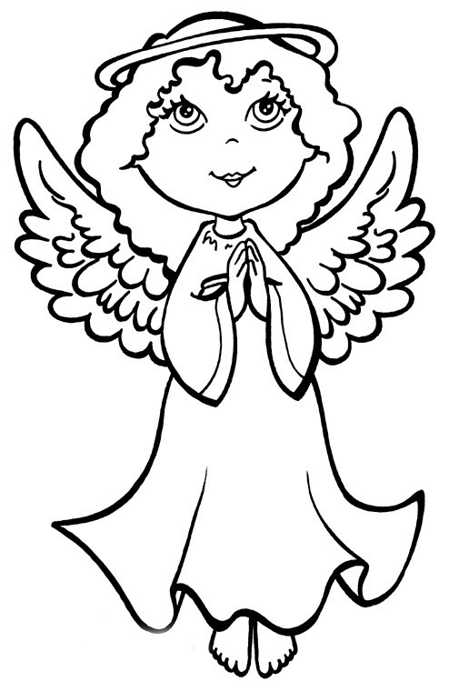 Christmas angel coloring pages team colors for Coloring page angel