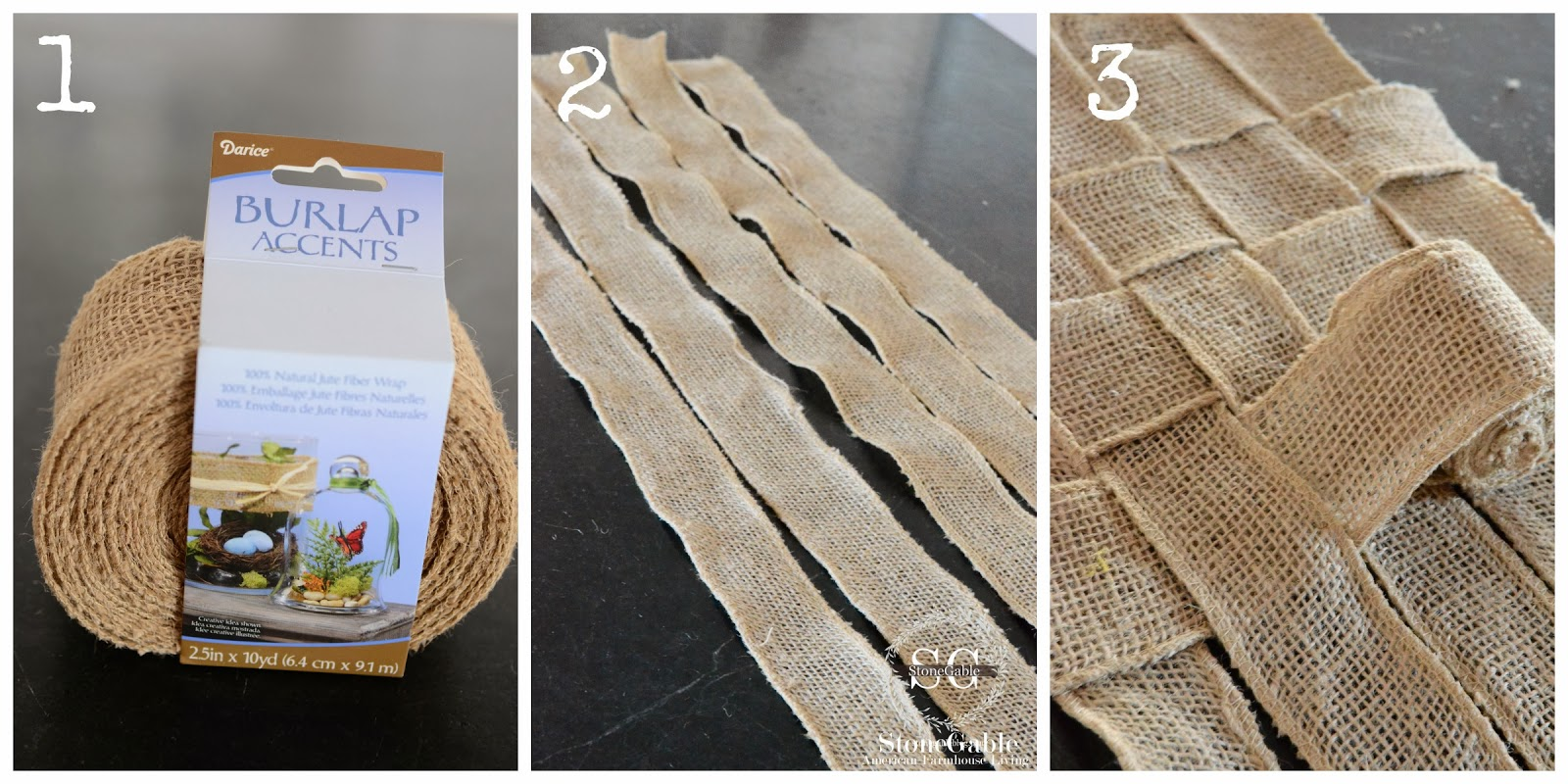Woven burlap runner diy for Diy jute