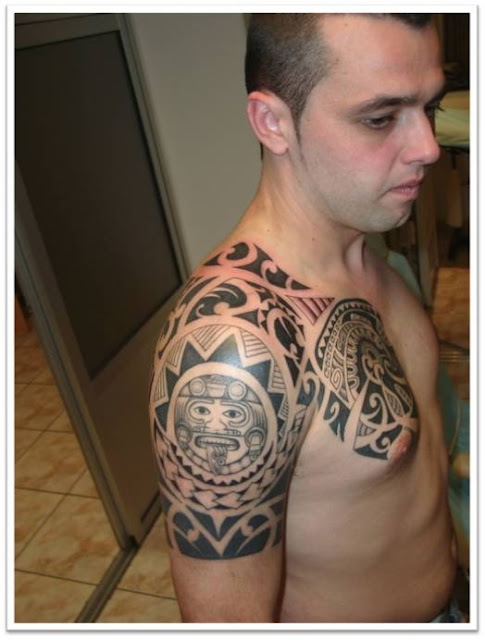 Maori Shoulder and Chest Tattoos Design for College Boys