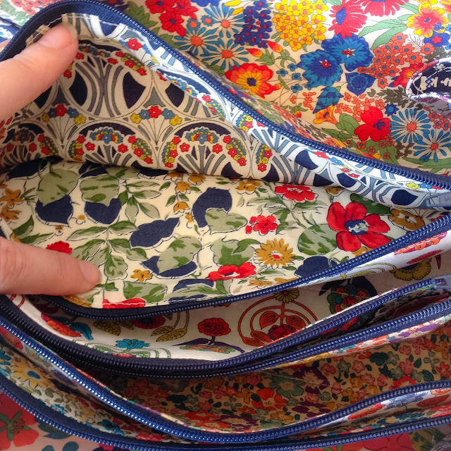 Liberty fabric pockets sew together bag by sew demented
