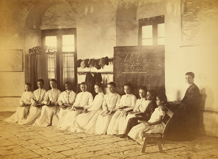 Students with their Teacher, in the European and Indo-European School at Karachi in Sind - c1873