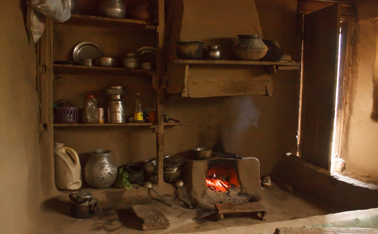 Kitchen In A Pakistan Mud Home