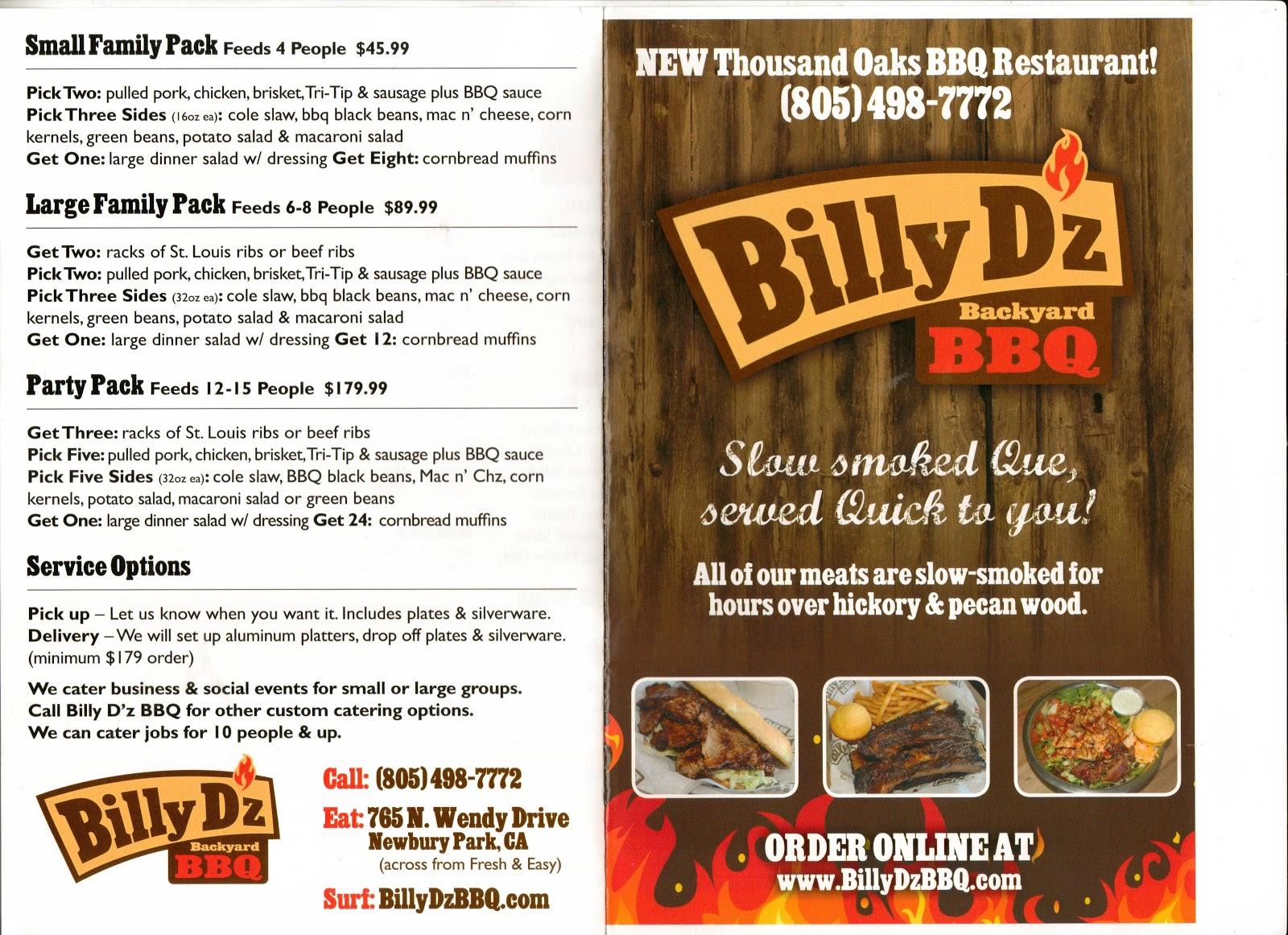 billy d z backyard bbq newbury park menu 765 north wendy drive newbury