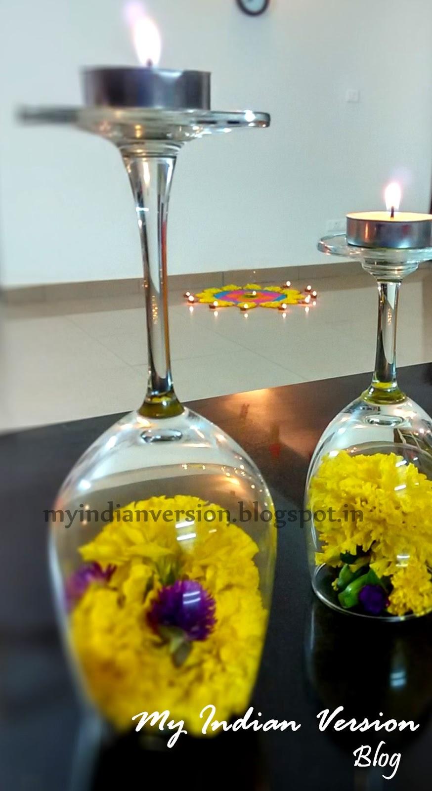 My indian version diwali festival decorations at my home for Simple diwali home decorations