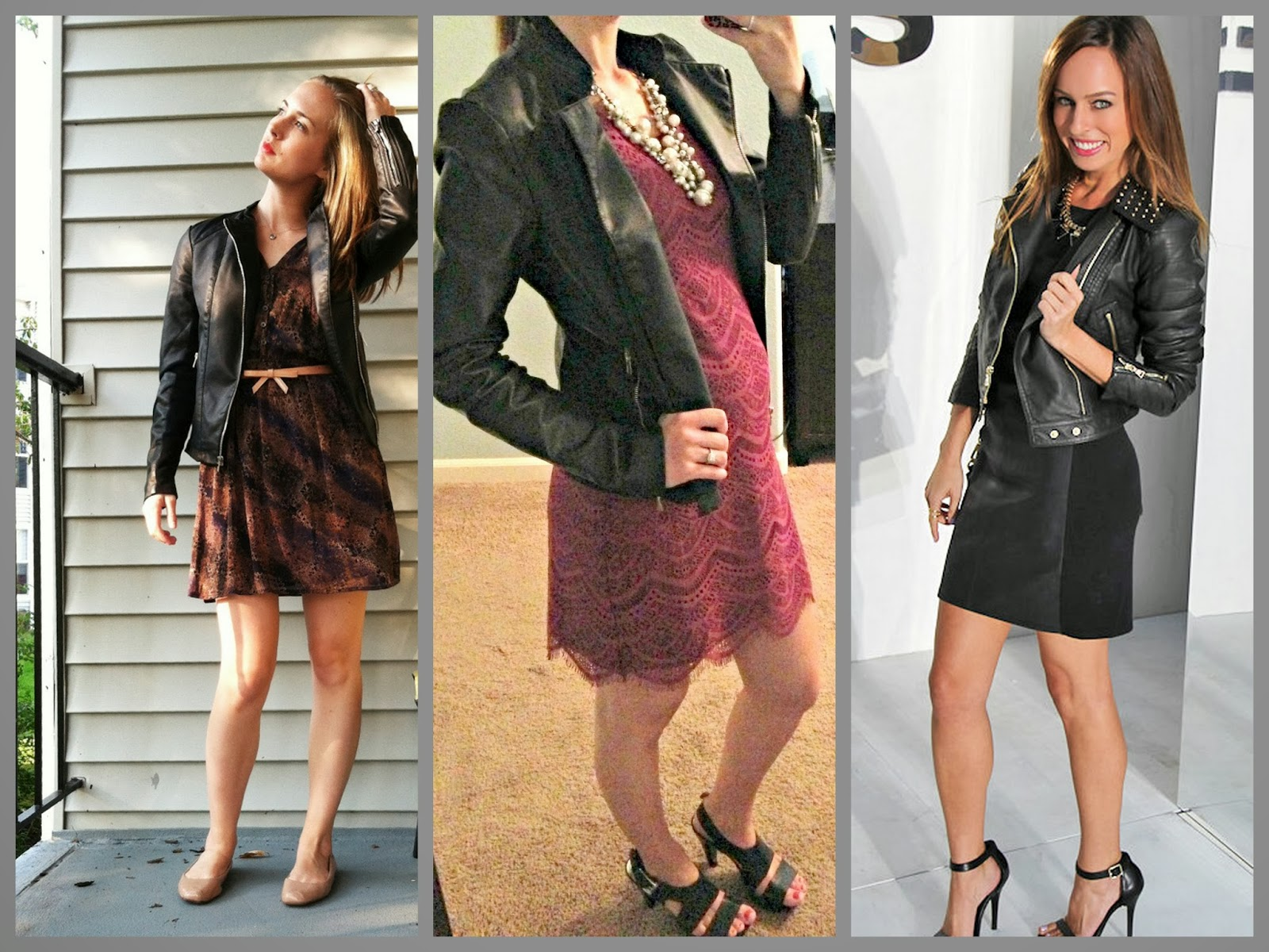 Express (minus the) leather jacket, dress, heels, how to wear
