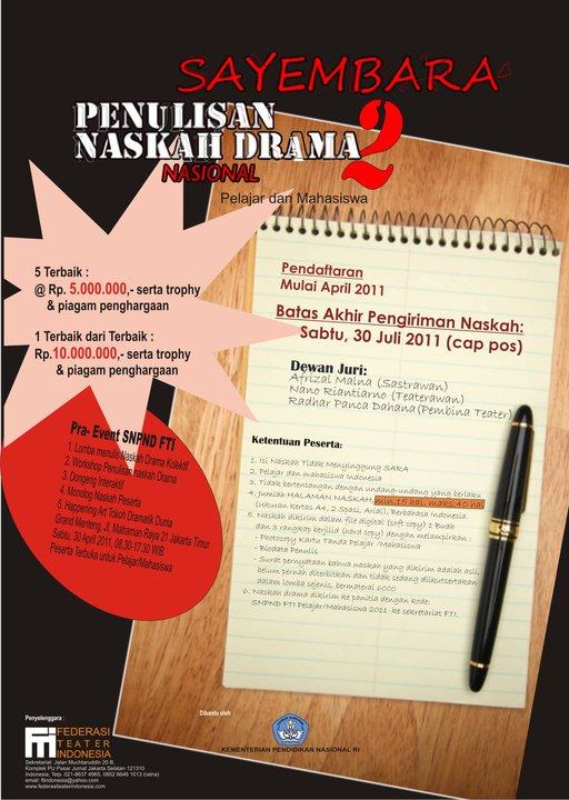 Indonesia - SAYEMBARA NASKAH DRAMA NASIONAL FTI PELAJAR & MAHASISWA