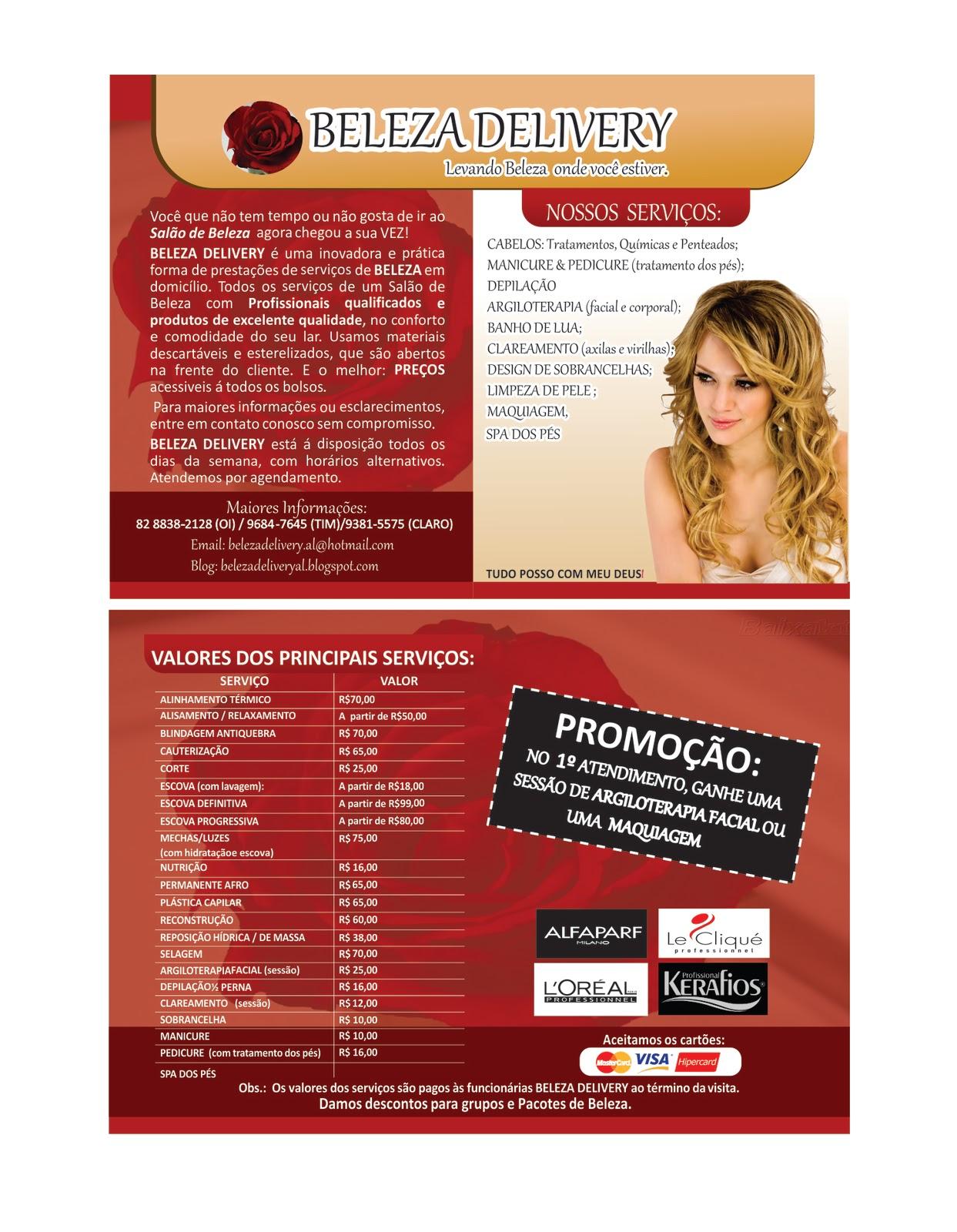 Excepcional Beleza Delivery MACEIÓ / AL: Nosso Panfleto! YC21