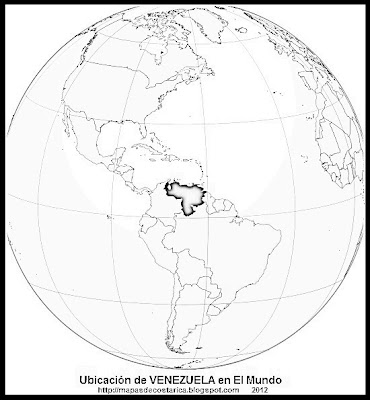 Ubicación de VENEZUELA en El Mundo, wikipedia, blanco y negro
