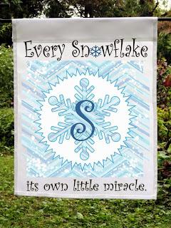 Snowflake Monogram Garden Flag