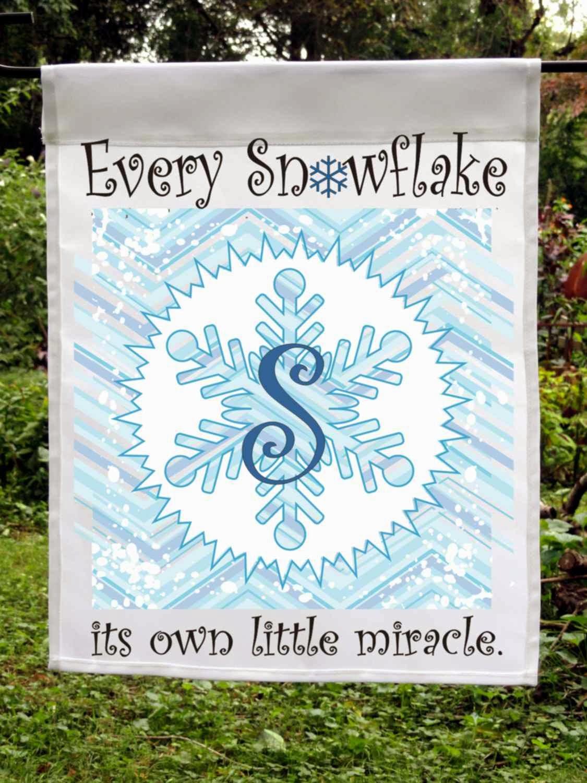 custom snowflake monogram flag