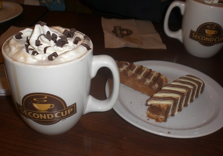 Mocaccino and Double Chocolate Biscotti. Yum.