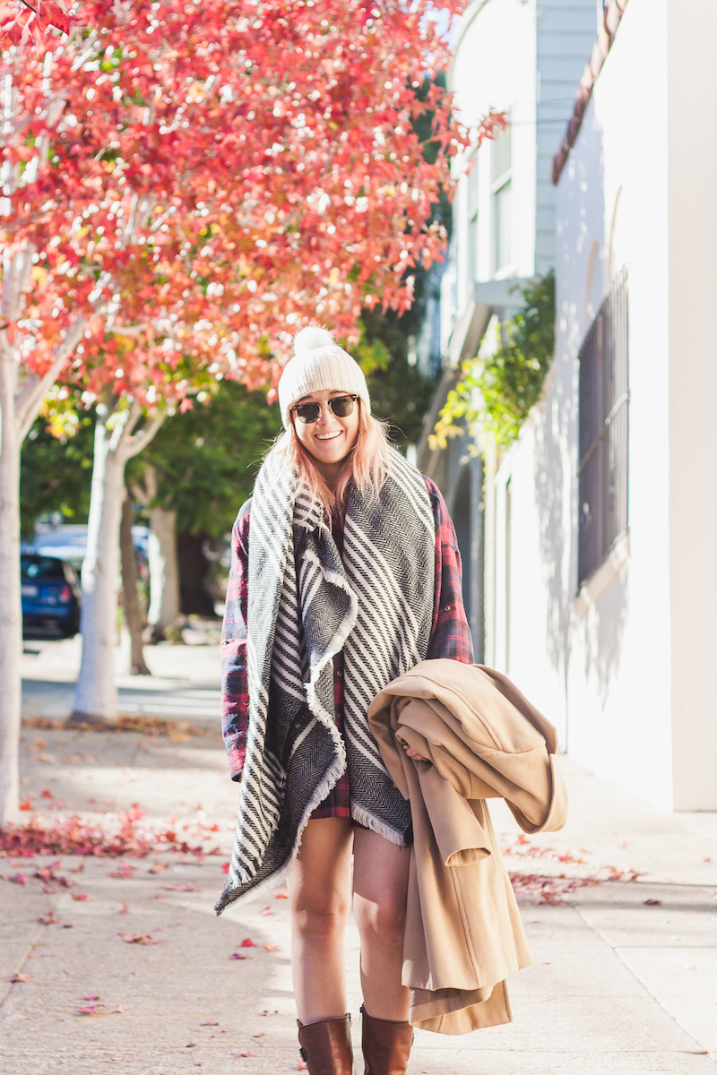 Warm cozy and stylish fall or winter outfit ideas with boots scarves and flannel dresses worn by Stone Fox Style a fashion blog by Bryn Newman