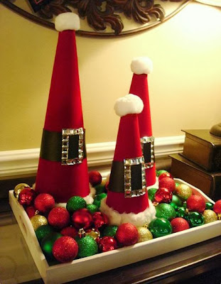 Turn Boring Christmas Cones Into A Fabulous Santa Inspired Décor Piece By  Gluing On Red Wrapping Paper Or Fabric And Creating A Santa Clause Belt In  The ...