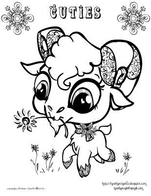 Cute monster coloring pages to print for Littlest pet shop coloring pages cuties