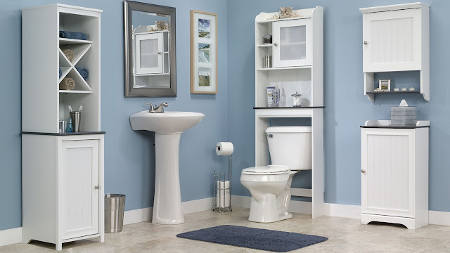 the combination of white and blue etagere bathroom with sink and white cupboard