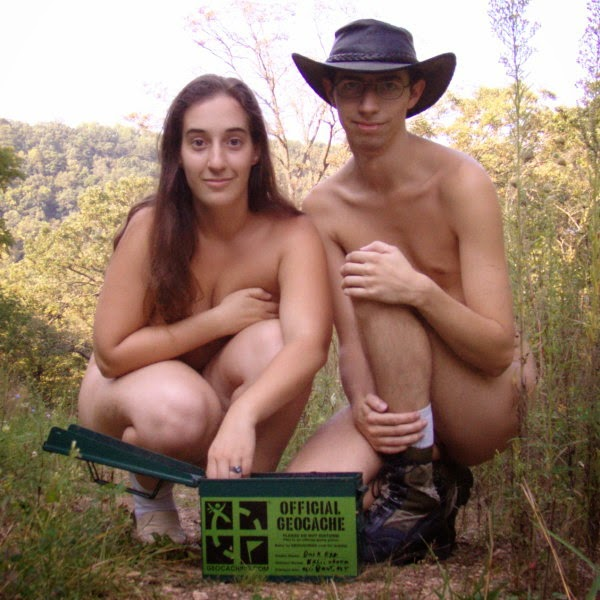 Man and woman geocaching nude