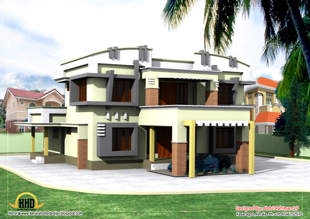 Duplex house elevation 2830 sq ft kerala home design for Duplex house elevation designs