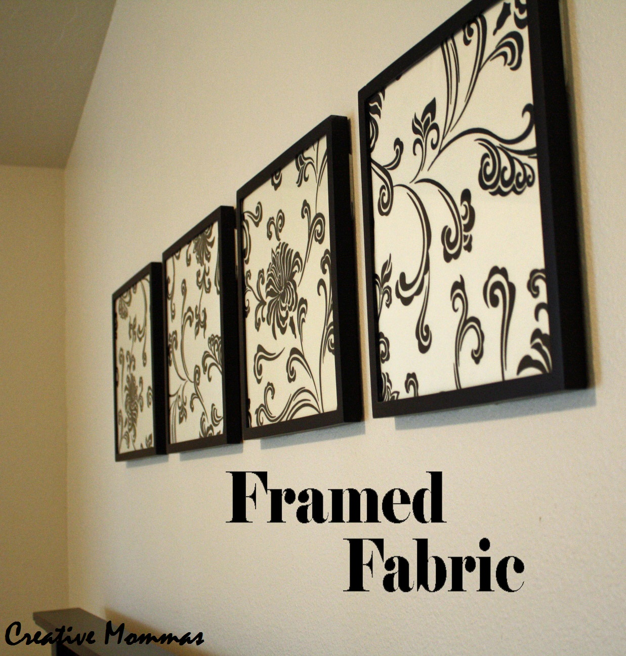 Creative mommas framed fabric wall decor Wall decor ideas
