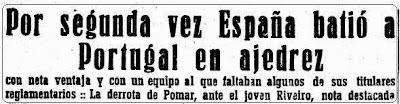 Titular en Mundo deportivo sobre el II Encuentro Ibérico de Ajedrez 1946