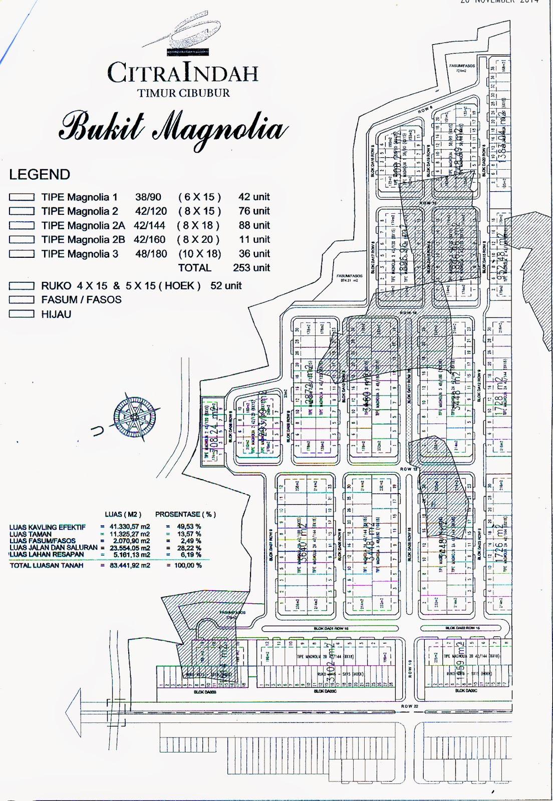 Siteplan Cluster Bukit Magnolia Citra Indah