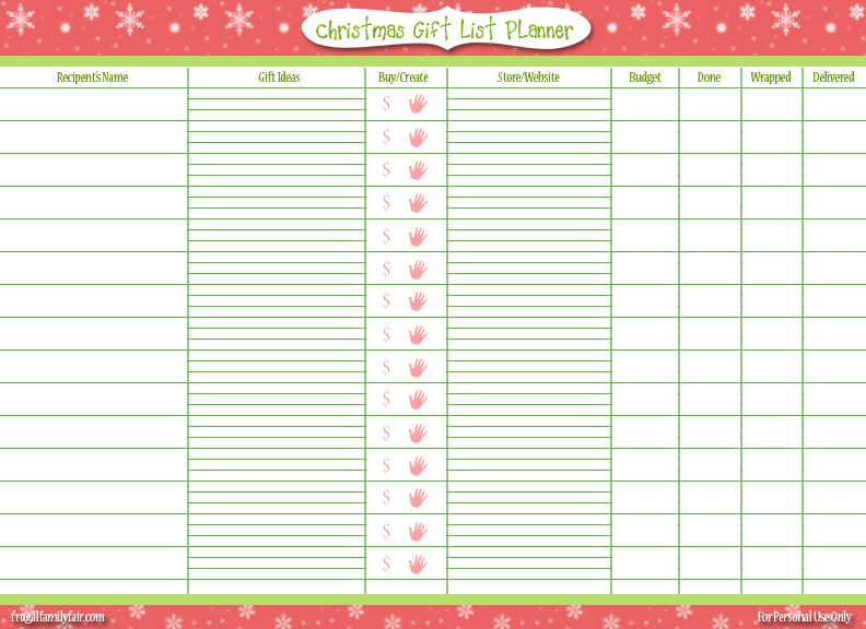 free printable christmas gift list frugal family fair