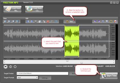 تحميل برنامج قص وتقطيع الصوت FreeTrim MP3 اخر اصدار