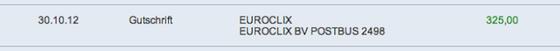 Der Auszahlungsnachweis von Euroclix