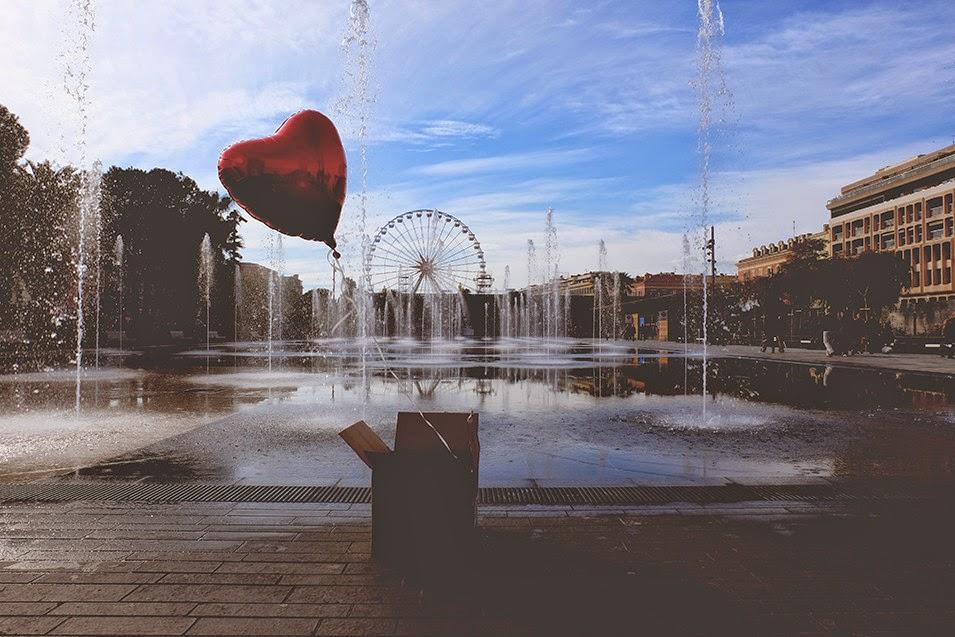 Coeur, surprise, amour, colis, hélium, balon