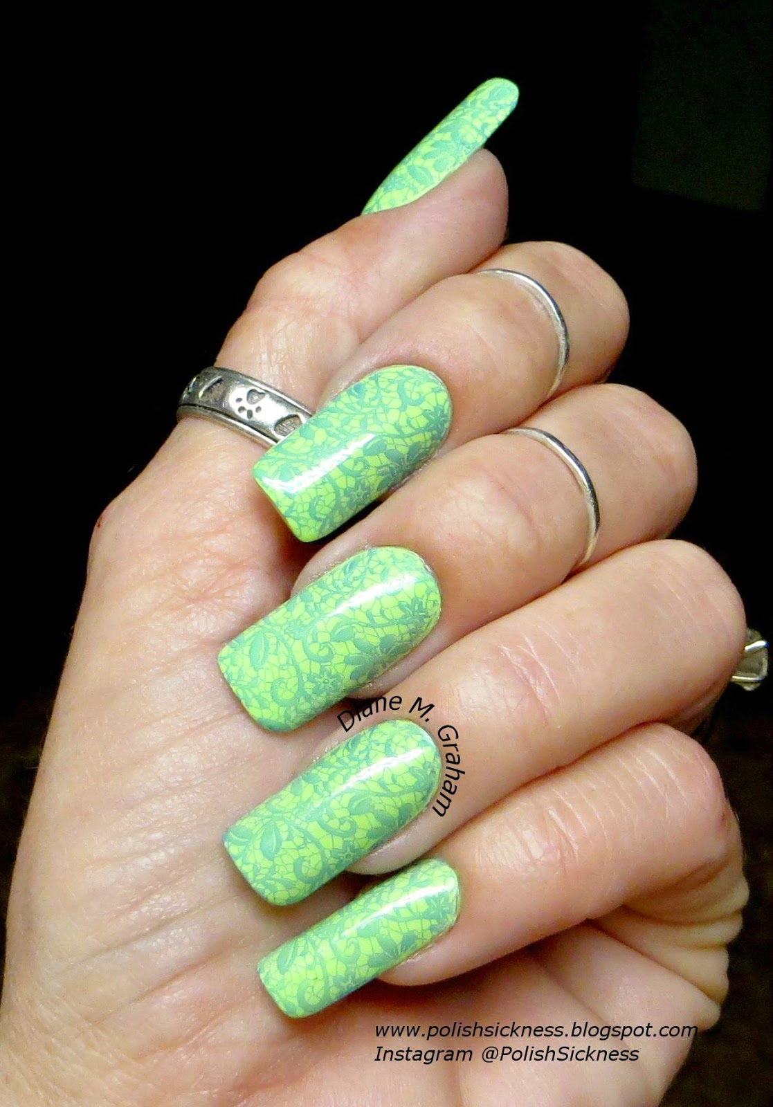 China Glaze Grass is Lime Greener, Sinful Colors Endless Blue, Ali Express AP 20 stamp