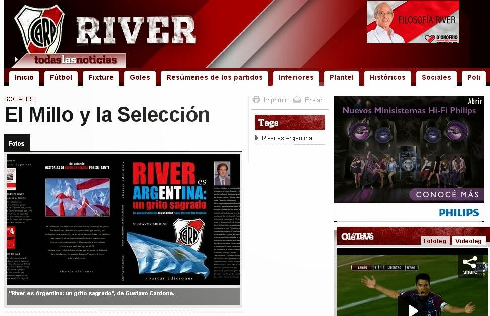 """2013: REPERCUSIÓN EN OLÉ DE """"RIVER ES ARGENTINA..."""""""