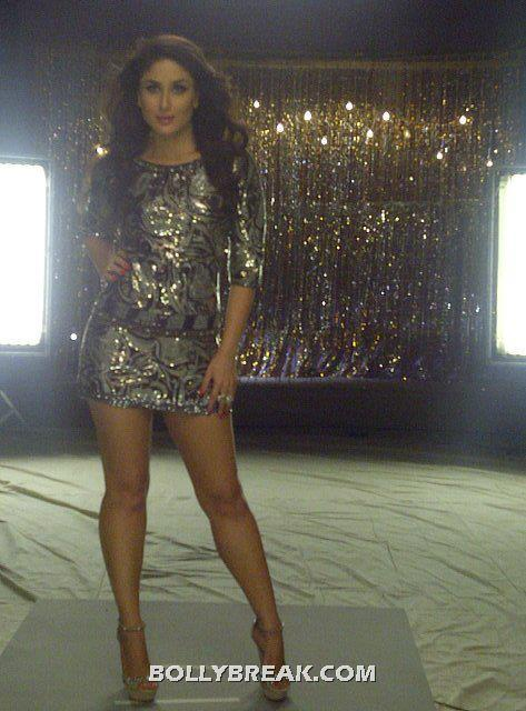 Kareena Very Short dress thigh show - Heroine - (5) - Kareena Kapoor Heroine Movie Silver Short Dress Hot Pics