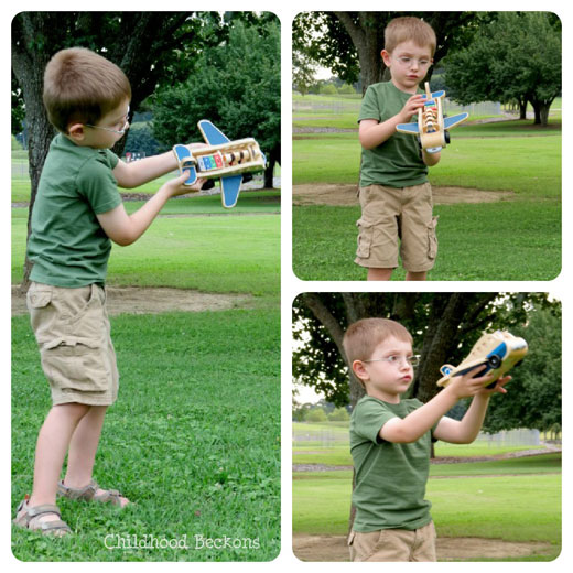 pretend play plane flies through the air