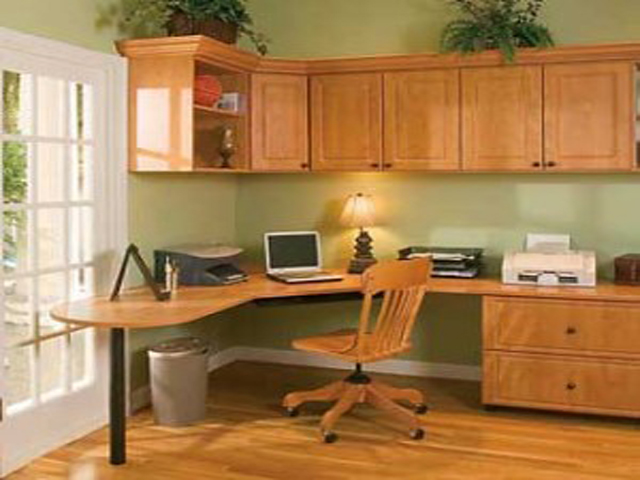 Simple Green Cupboard Home Office Design Ideas For Small Spaces