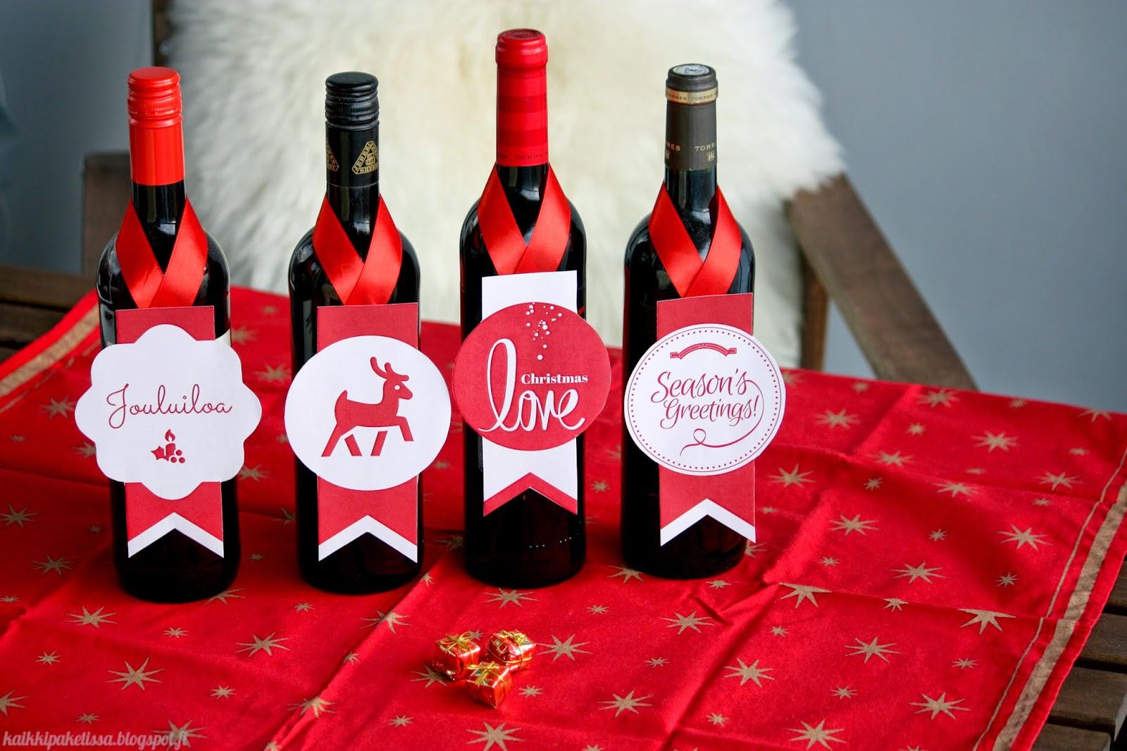 Kaikki Paketissa joulutervehdys viinipullon kaulaan