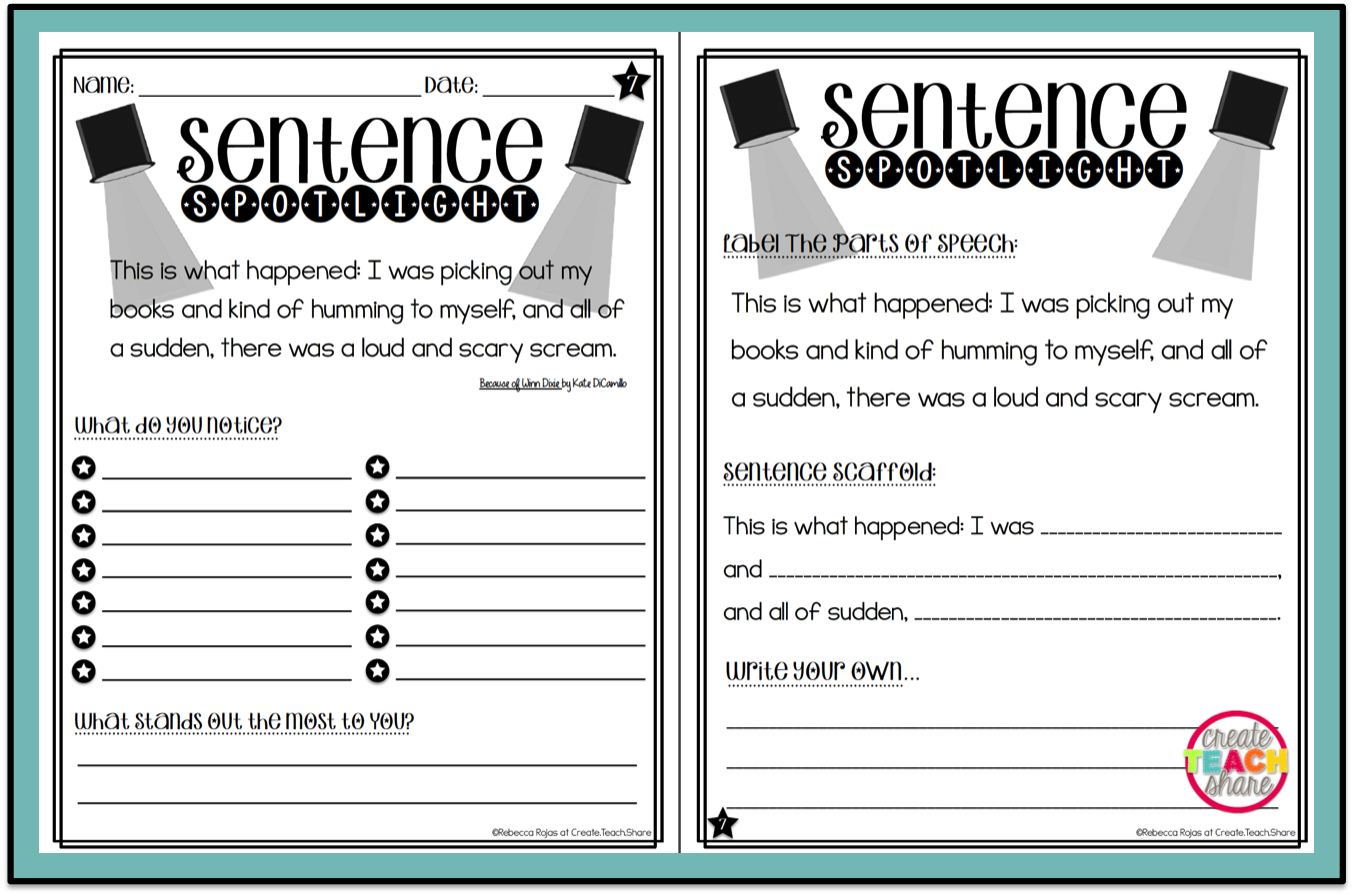 Worksheets Mentoring Worksheets upper elementary snapshots putting the spotlight on mentor sentences getting to work