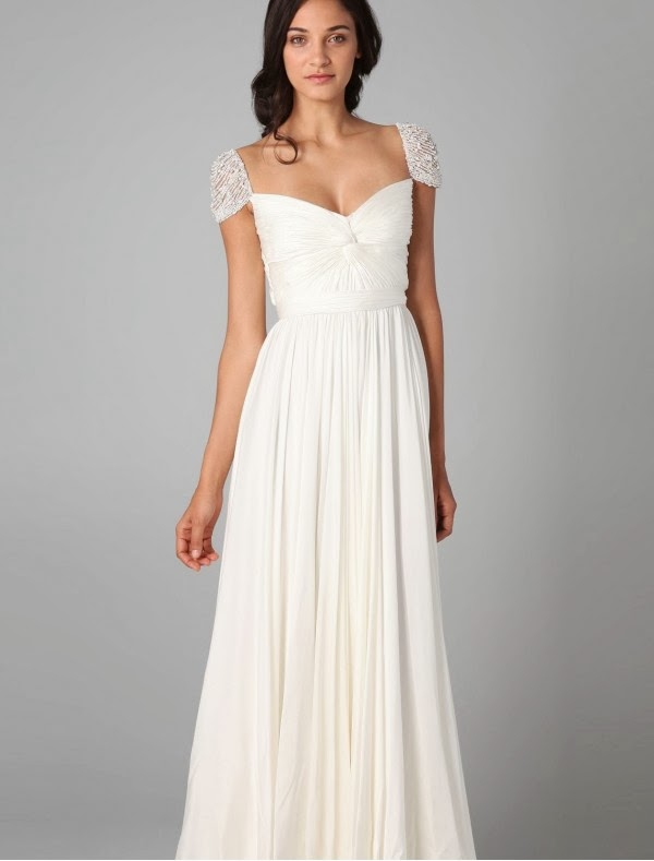 Chiffon Curved Neckline Simple Wedding Dress with Beaded Cap Sleeves