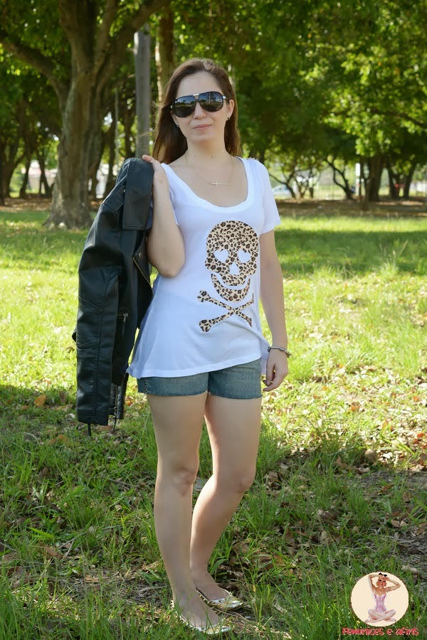 Look T-shirt Skull Onça