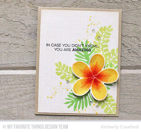 Amazing Flower Card by Kimberly Crawford featuring the Amazing, Distressed Patterns, and Tropical Flowers stamp sets and the Linen Background stamp #mftstamps