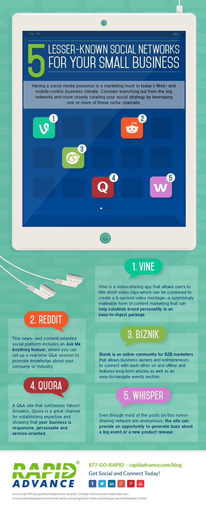 5 Lesser-known #SocialMedia Platfroms For Your Small Business - #infographic