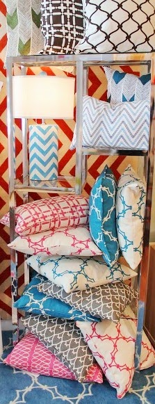 COCOCOZY linen pillows on display at Lotus Bleu store in San Francisco