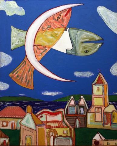 Cuadro de 2 peces cruzados en el cielo mezclados con la luna. En primer plano un pueblo.