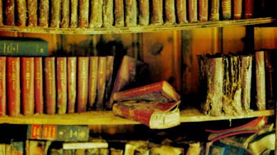 Dilapidated book son a dusty shelves