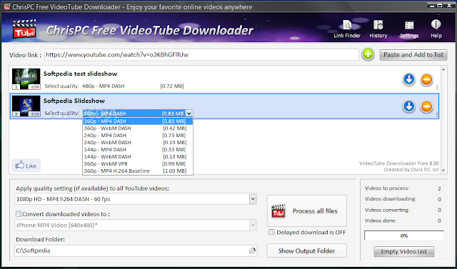 برنامج لتحميل ملفات الفيديو ChrisPC Free VideoTube Downloader 8.40 ChrisPC-Free-YouTube