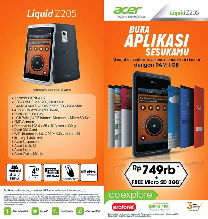 Acer Liquid Z205 RAM 1 GB + microSD 8 GB Harga Rp 749.000
