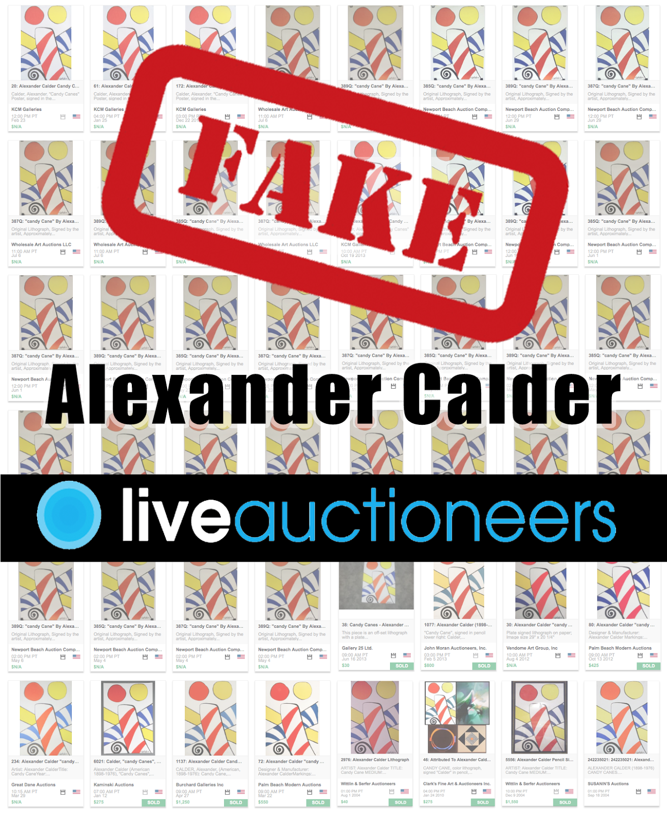 Fraudulent Calder listings have appeared on Live Auctioneers over 44 times