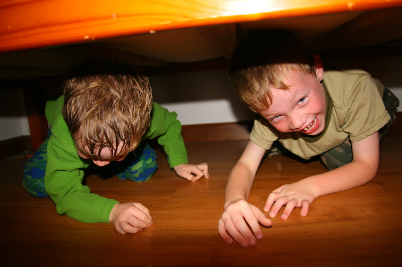 Hiding under the bed to avoid bedtime is a favorite game. It never ...