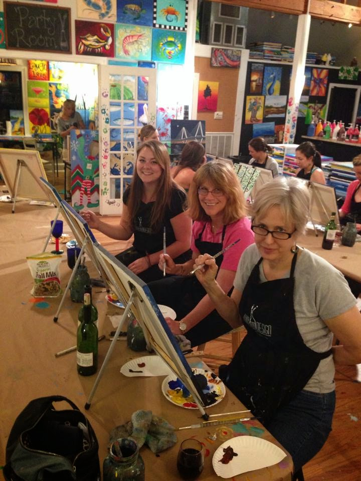 Kim, Lynne, and Cindy painting at Wine & Design